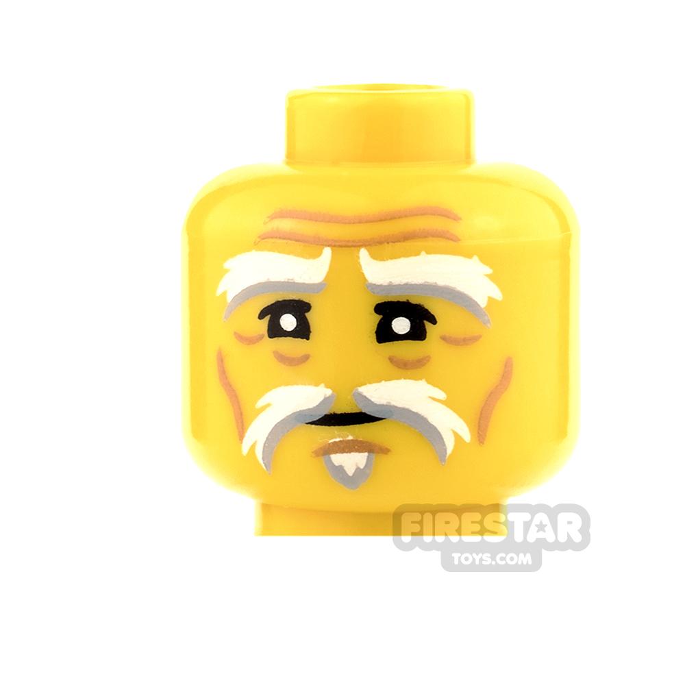 LEGO Mini Figure Heads - White and Gray Eyebrow with Goatee
