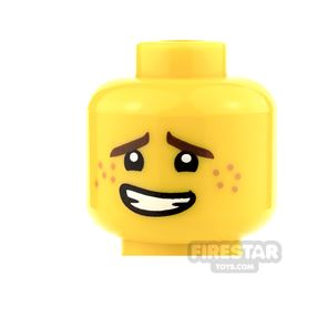 LEGO Mini Figure Heads - Crooked Smile and Freckles