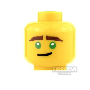 LEGO Mini Figure Heads - Green Eyes and Crooked Smile