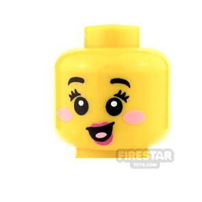 LEGO Mini Figure Heads - Pink Rosy Cheeks and Open Mouth Smile