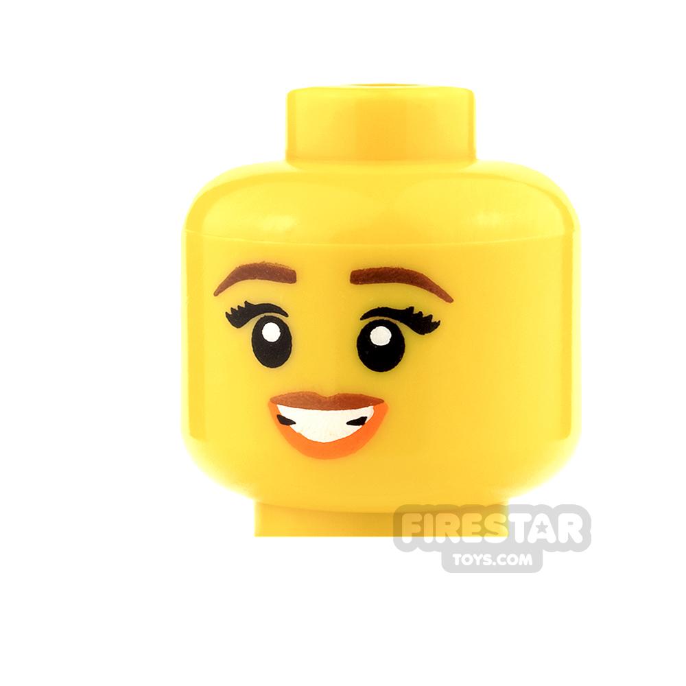 LEGO Mini Figure Heads - Orange Lips and Open Mouth Smile