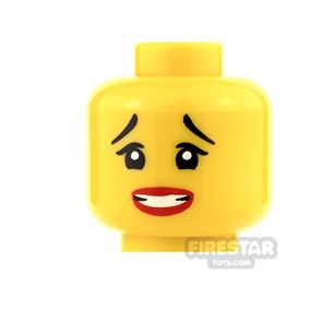 LEGO Mini Figure Heads - Raised Eyebrows and Clenched Teeth