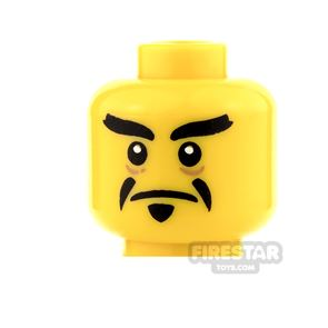 LEGO Mini Figure Heads - Pointed Goatee, Stern / Open Mouth Angry