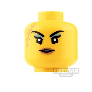 LEGO Mini Figure Heads - Large Scar with Eyeshadow and Smile