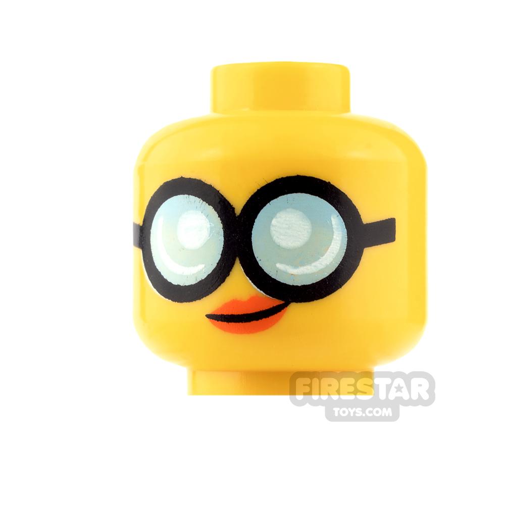 LEGO Mini Figure Heads - Round Glasses and Smile