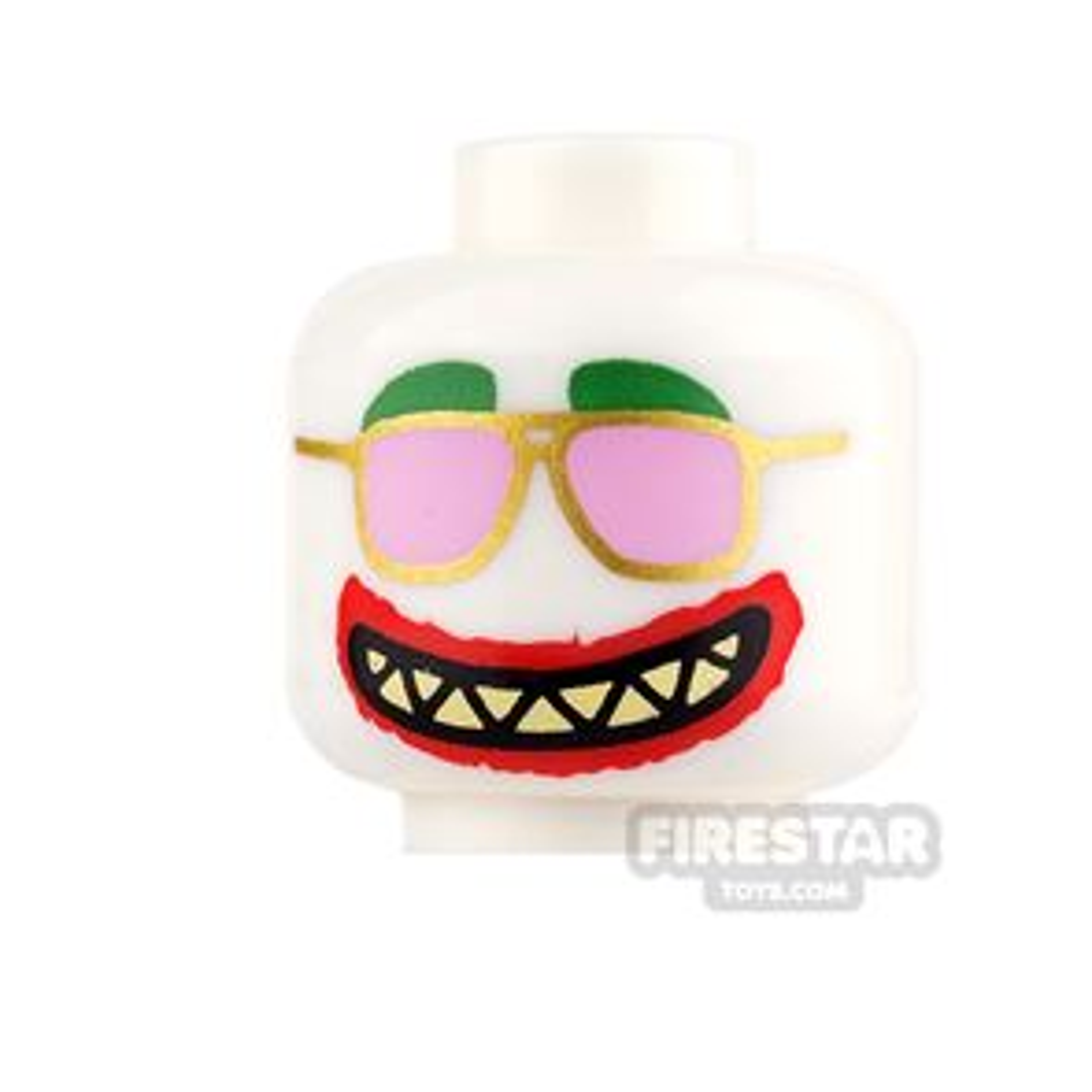 LEGO Mini Figure Heads - Pink Sunglasses and Grin