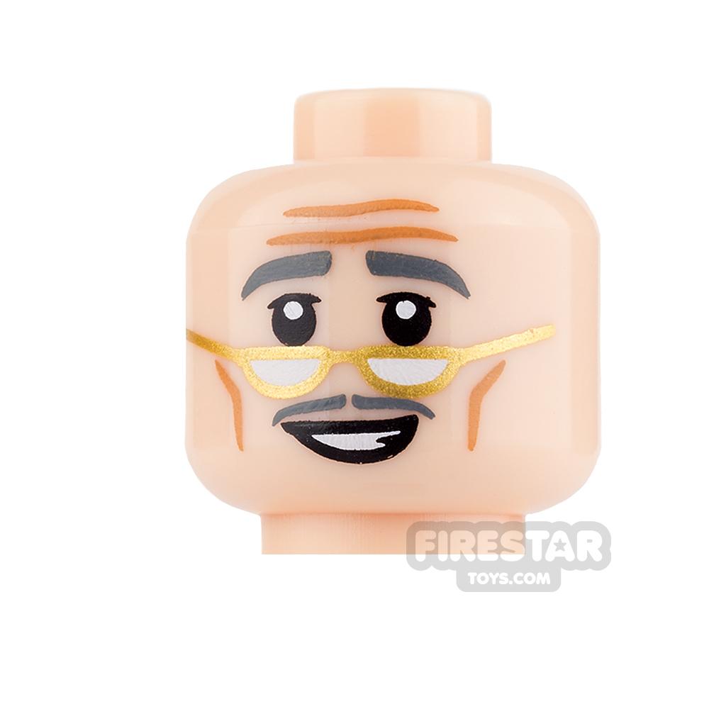 LEGO Mini Figure Heads - Gold Glasses and Moustache
