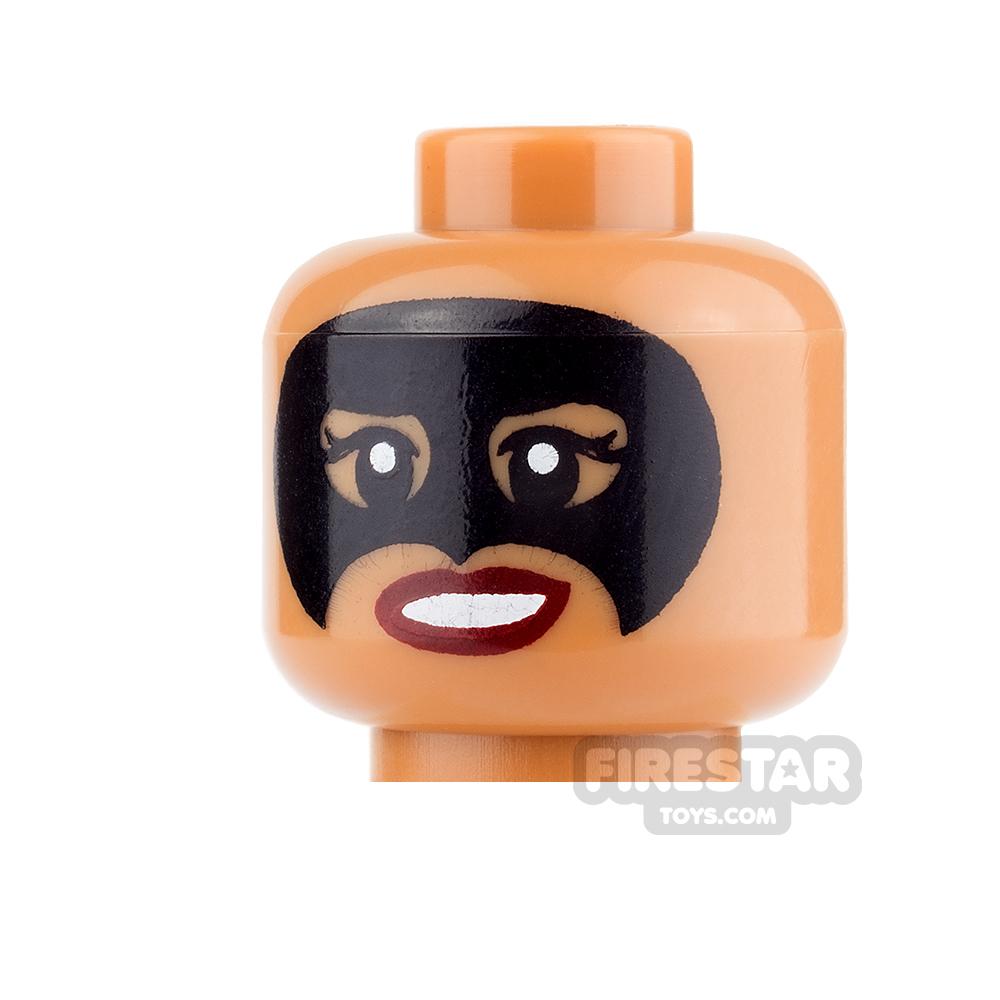 LEGO Mini Figure Heads - Black Mask and Smile/Bared Teeth