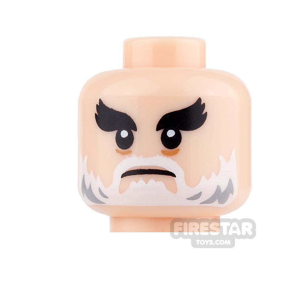 LEGO Mini Figure Heads - White Beard and Bushy Eyebrows