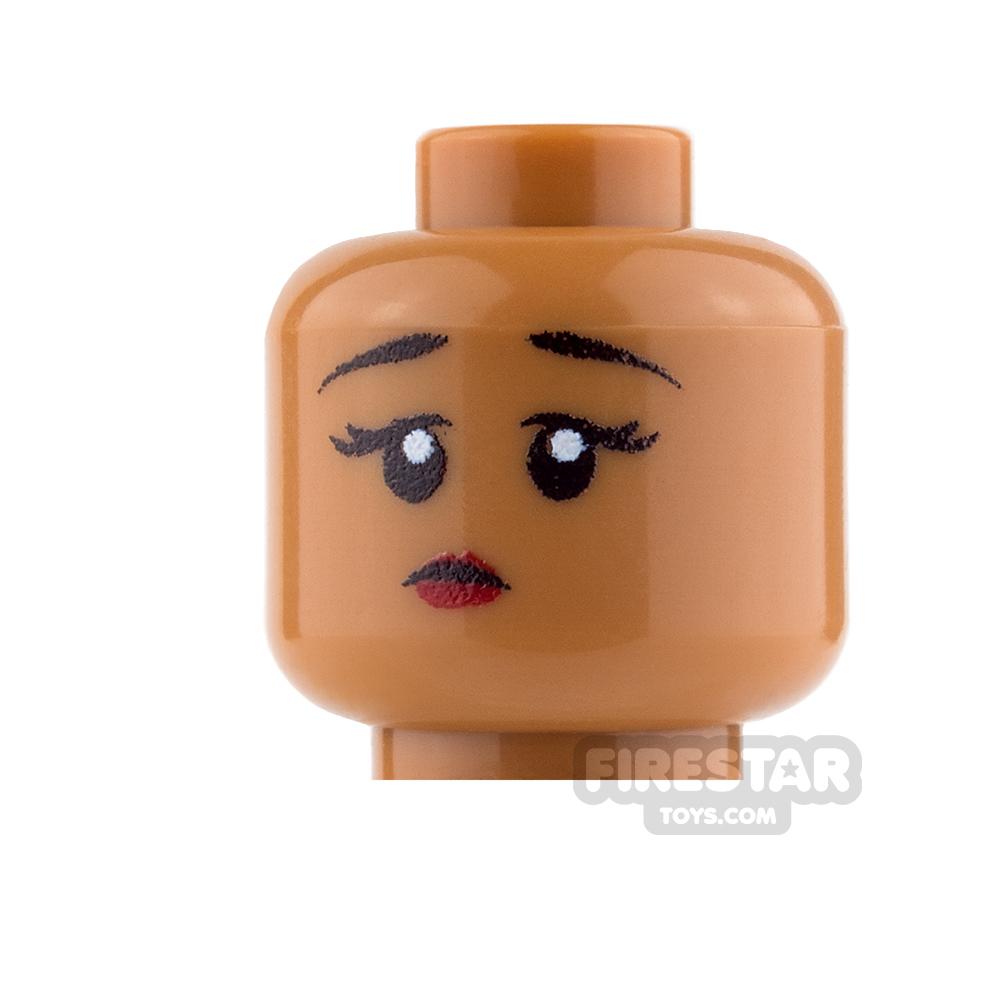 Custom Mini Figure Heads - Perplexed Girl - Medium Dark Flesh