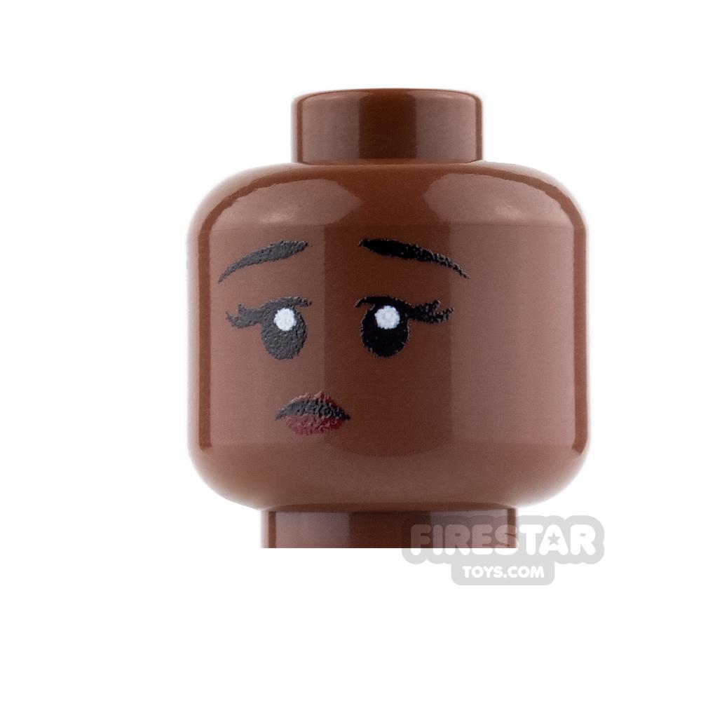 Custom Mini Figure Heads - Perplexed Girl - Reddish Brown