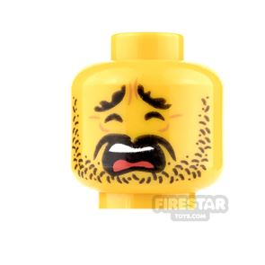 LEGO Mini Figure Heads - Scared with Stubble and Moustache