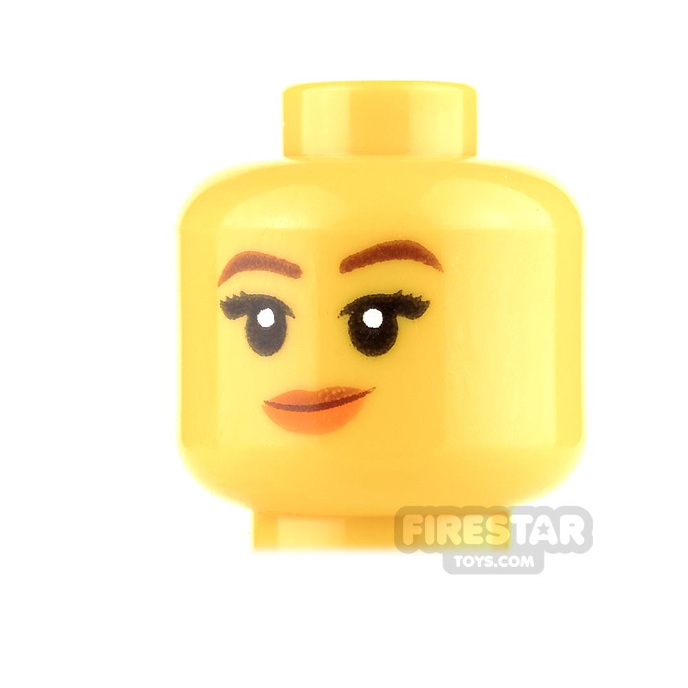 LEGO Mini Figure Heads - Orange Lips, Crooked Smile / Winking
