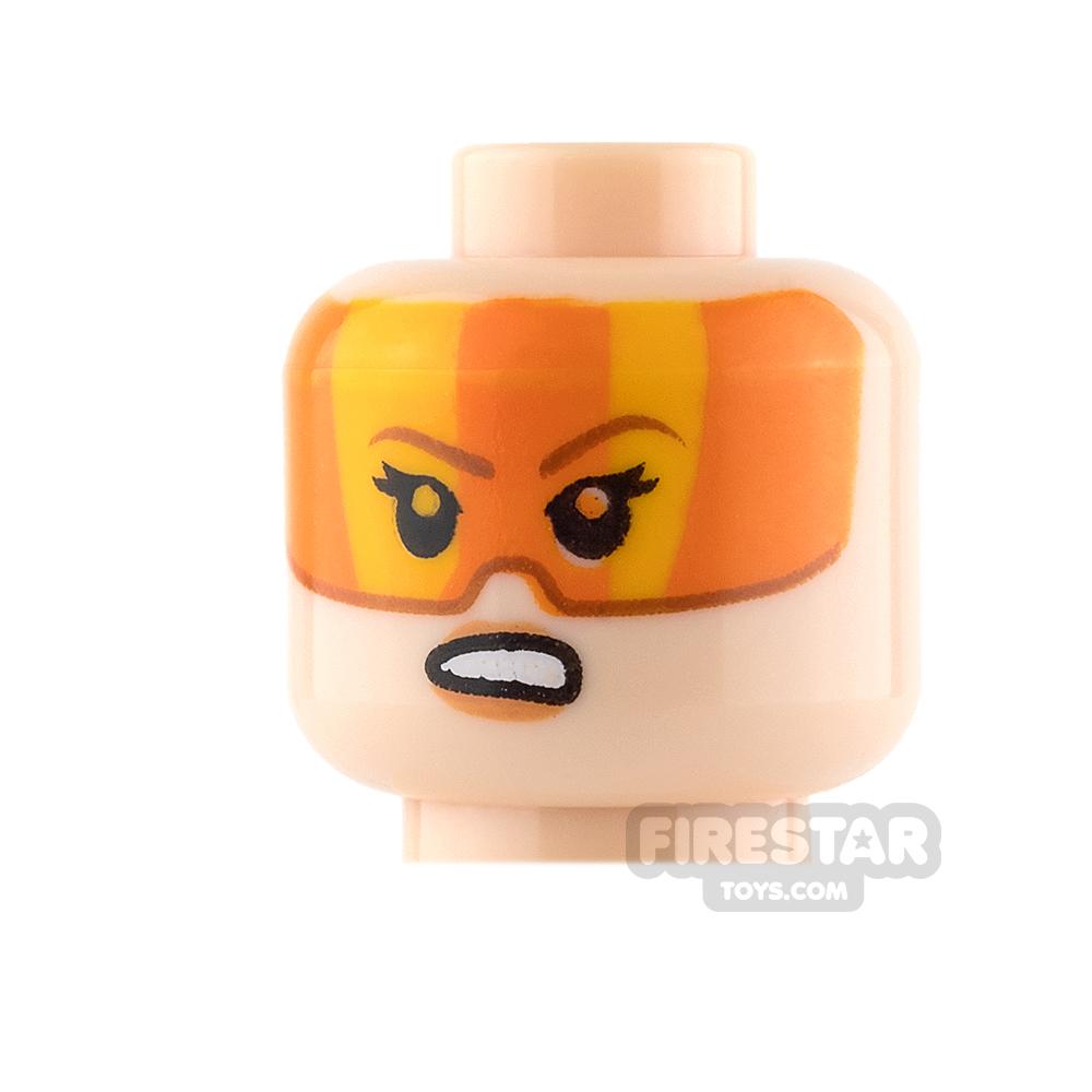 LEGO Mini Figure Heads - Orange Visor and Grimace / Stern