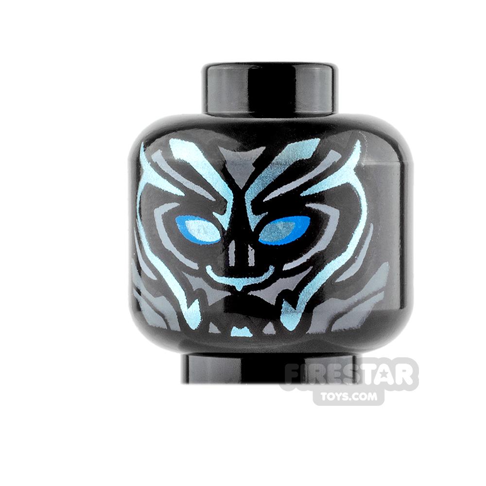 LEGO Mini Figure Heads - Black Panther - Blue Markings