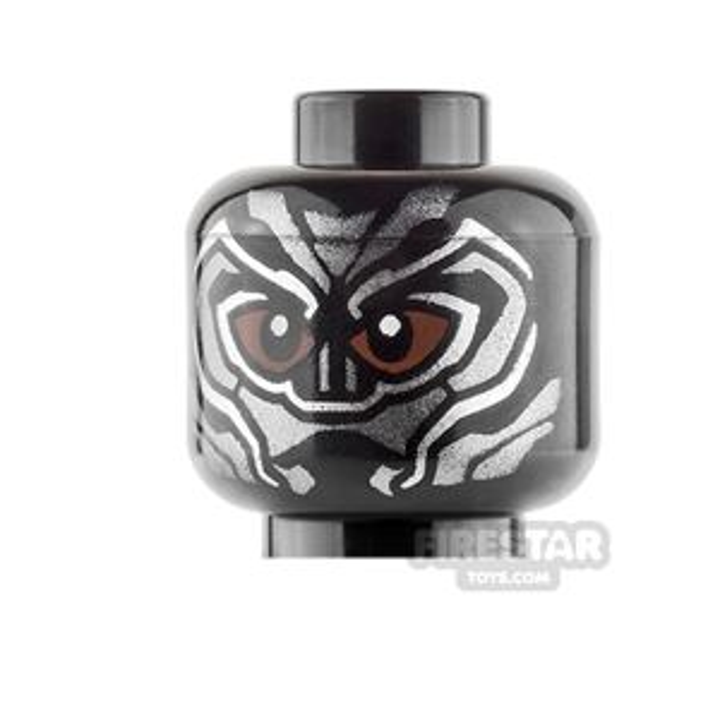 LEGO Mini Figure Heads - Black Panther - Brown Eyes