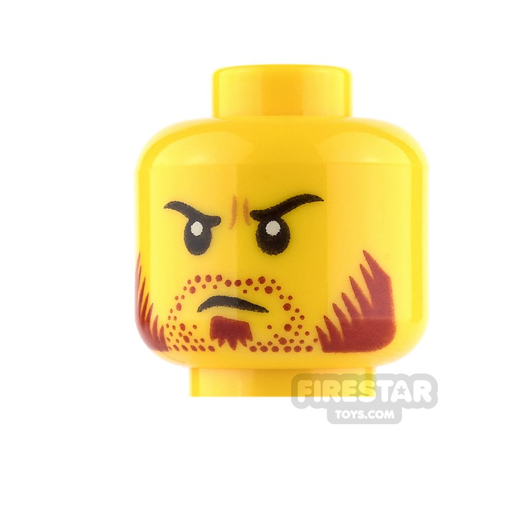 LEGO Mini Figure Heads - Dark Red Stubble and Goatee