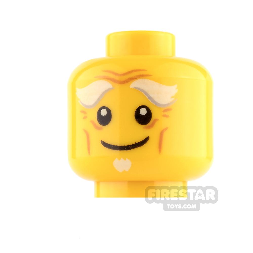 LEGO Mini Figure Heads - White Goatee, Smile / Open Mouth Scared