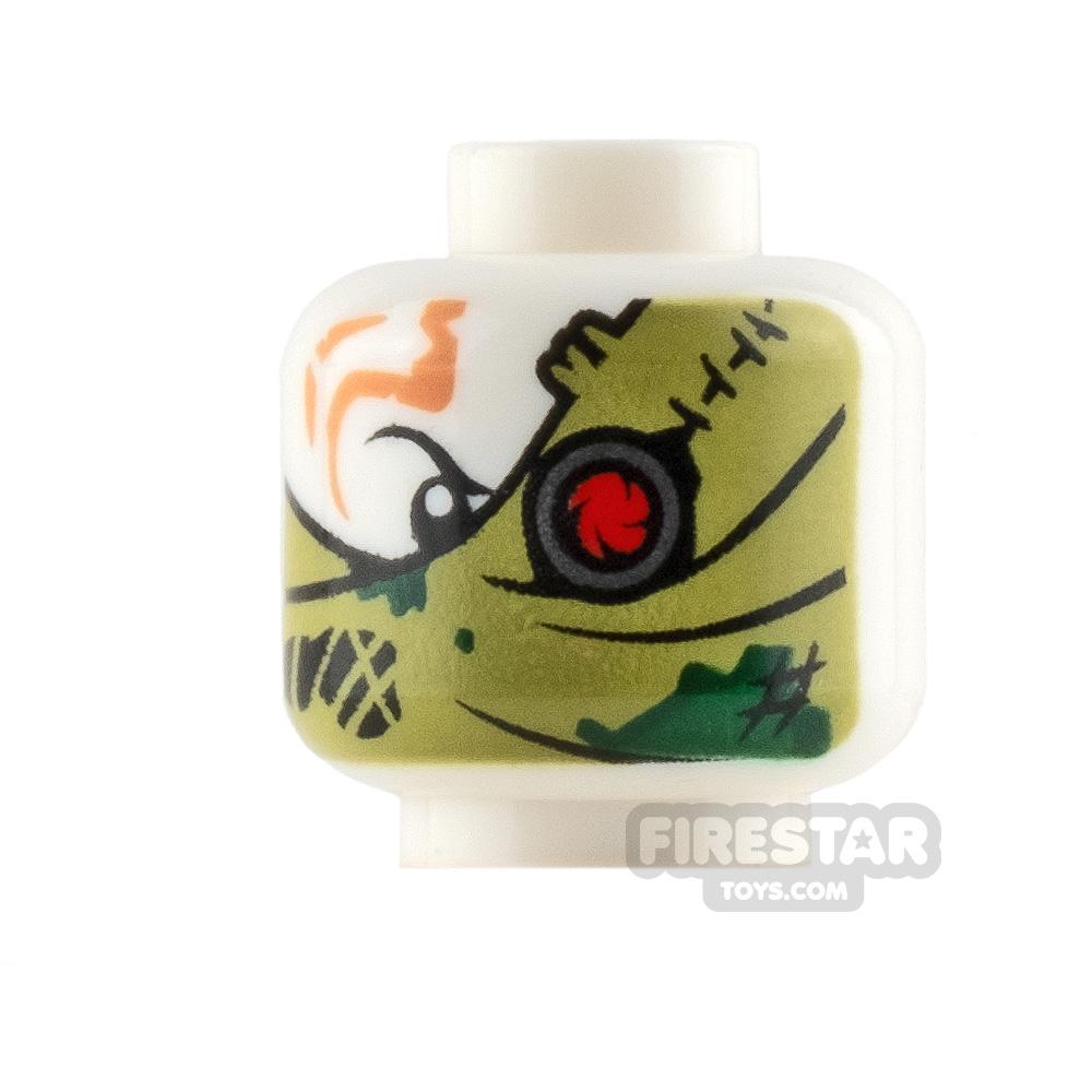LEGO Mini Figure Heads - Olive Green Bandana Wrap and Red Eye