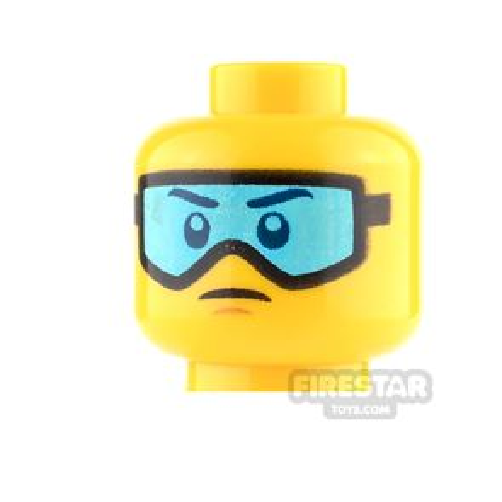 LEGO Mini Figure Heads - Blue Ski Goggles and Small Frown