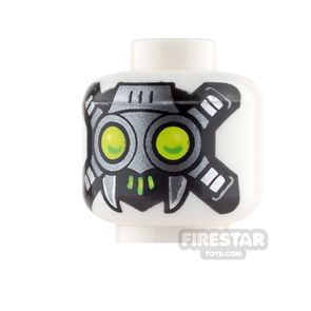 LEGO Mini Figure Heads - Red Eyes and Fangs / Cybernetic Mask