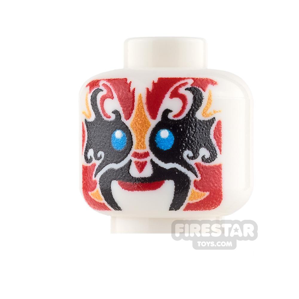 Custom Minifigure Heads - Chinese Opera Mask - Red