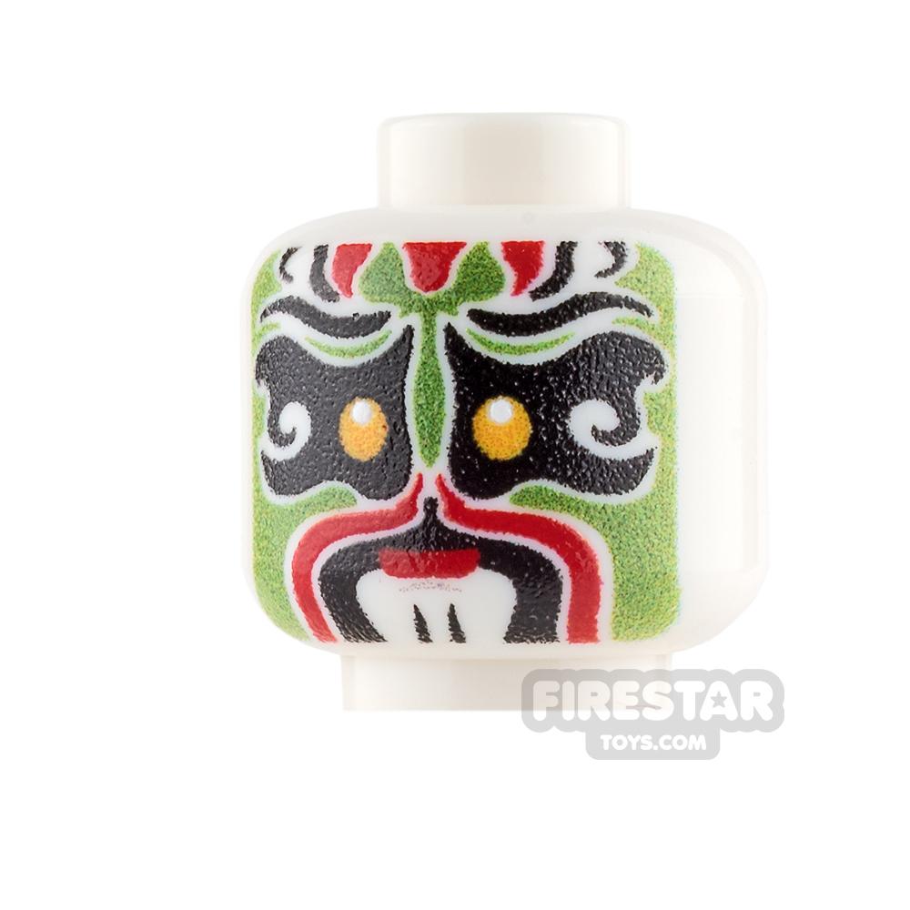 Custom Minifigure Heads - Chinese Opera Mask - Green