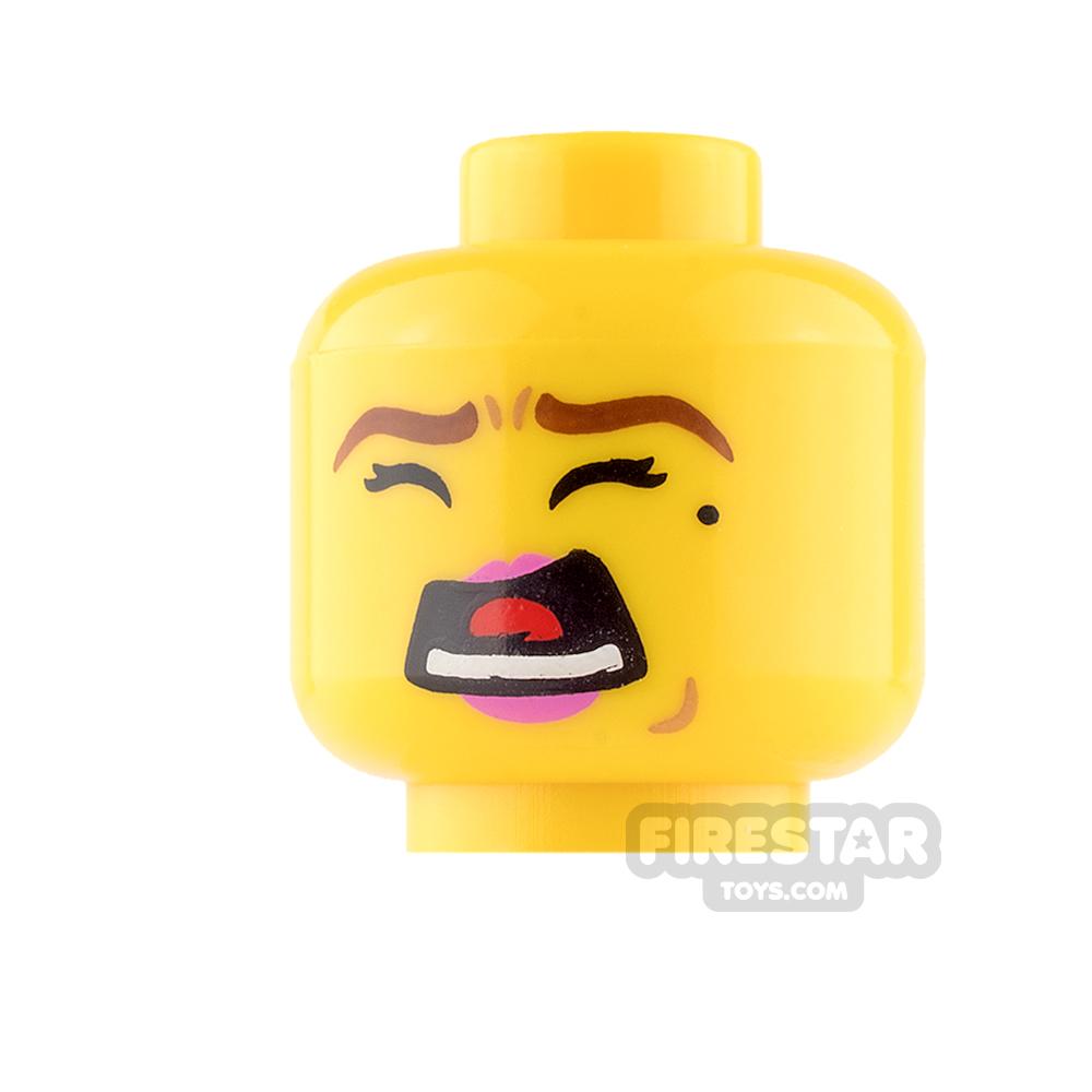 LEGO Mini Figure Heads - Pink Lips and Beauty Spot / Scared