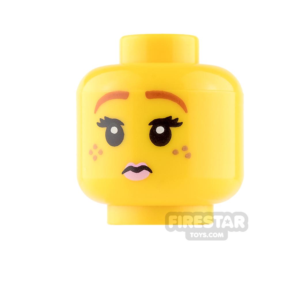 LEGO Mini Figure Heads - Pink Lips - Smile / Worried
