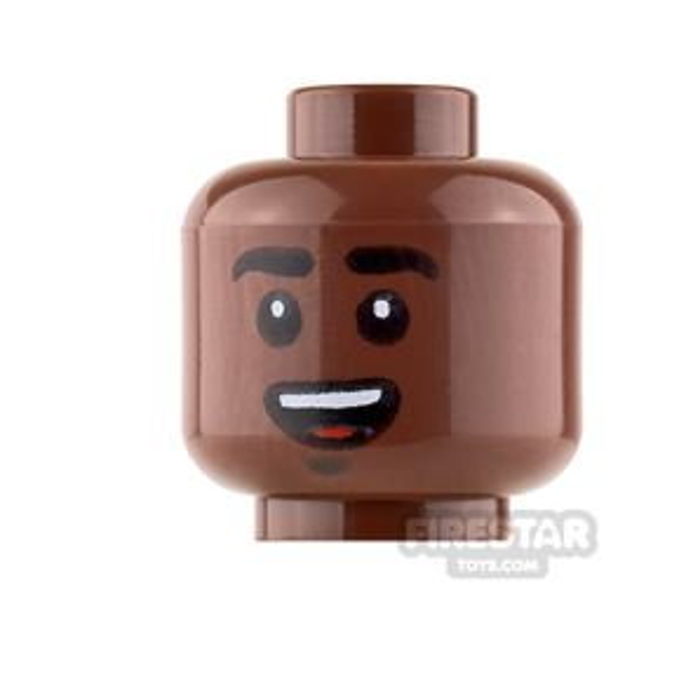 LEGO Mini Figure Heads - Black Eyebrows - Smile / Scared