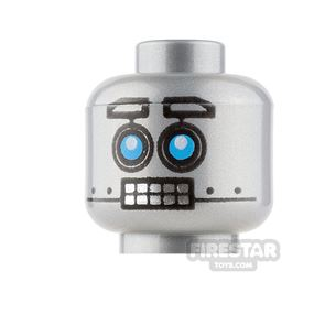 LEGO Mini Figure Heads - Robot with Blue Eyes and Clenched Teeth