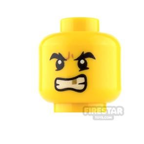 LEGO Mini Figure Heads - Gold Tooth Determined / Sad with Bee Stings