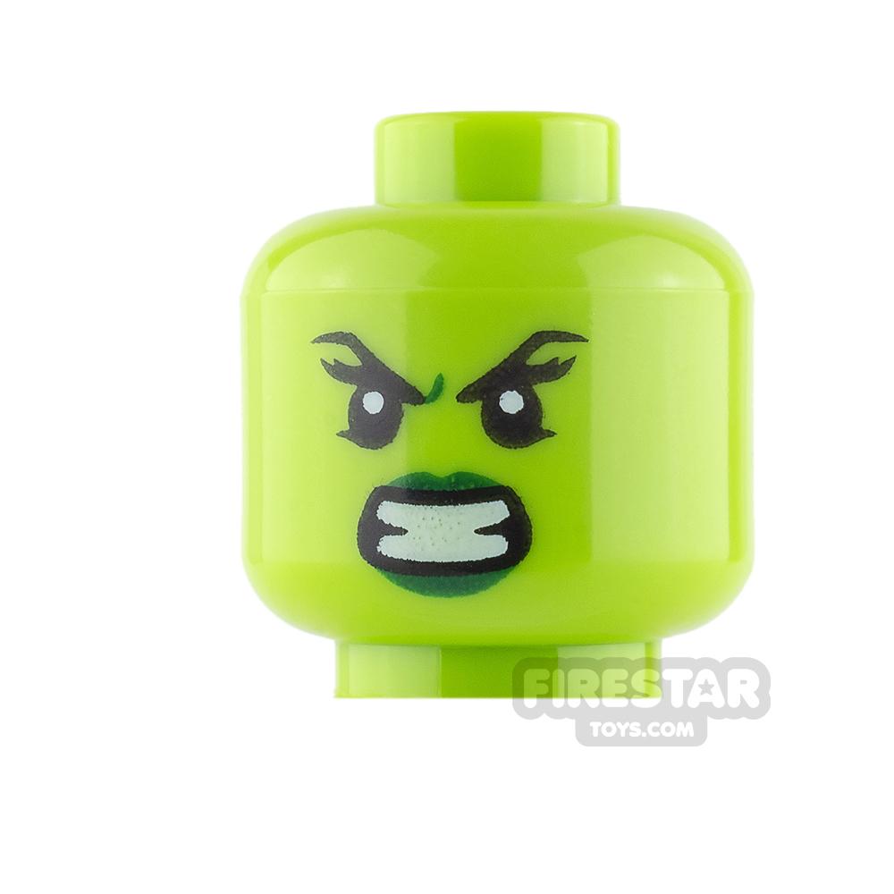 LEGO Mini Figure Heads - She-Hulk - Angry / Evil Smile