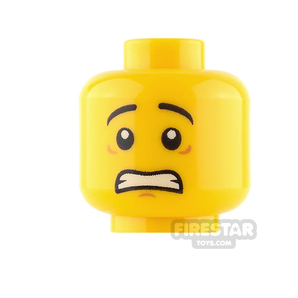 LEGO Mini Figure Heads - White Pupils - Scared / Lopsided Smile