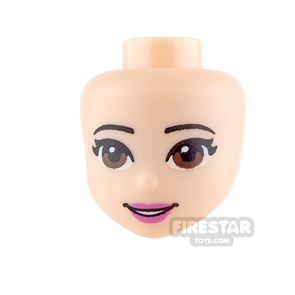 LEGO Friends Mini Figure Heads - Brown Eyes and Pink Lips
