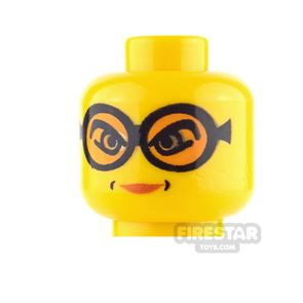 LEGO Mini Figure Heads - Female - Glasses with Orange Goggles