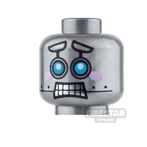 LEGO Mini Figure Heads - Robot with Pink Cheeks - Smile / Scared