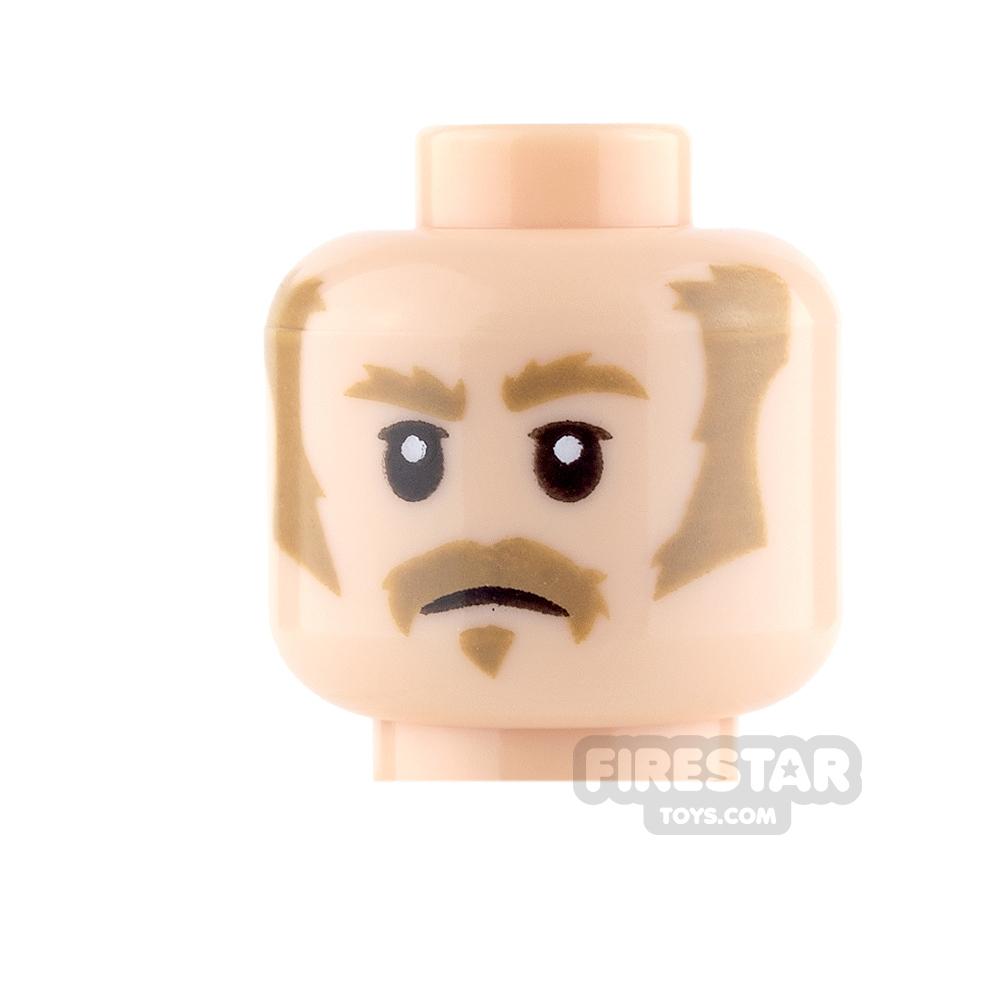 LEGO Mini Figure Heads - Dark Tan Sideburns and Moustache