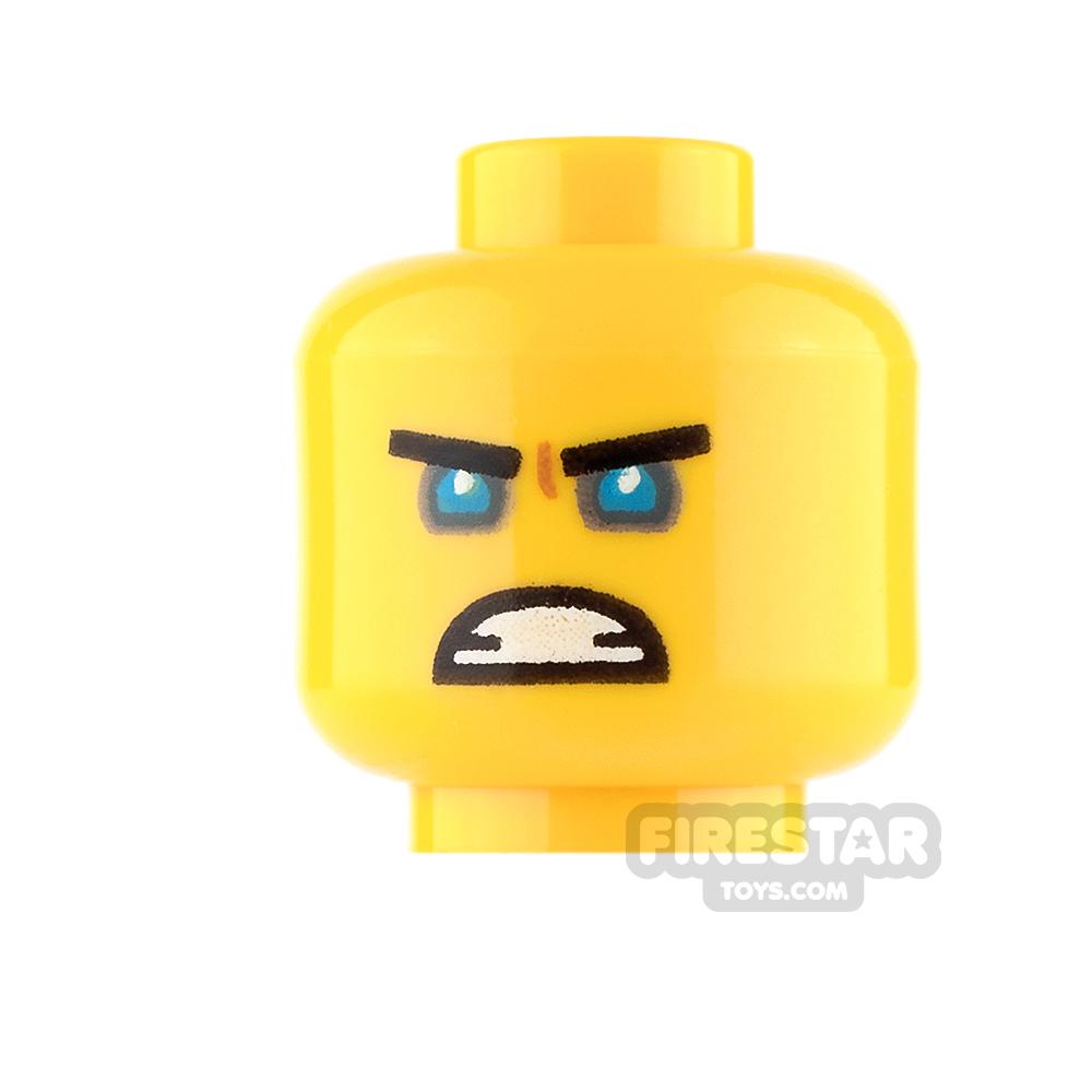 LEGO Mini Figure Heads - Blue Eyes and Scowl