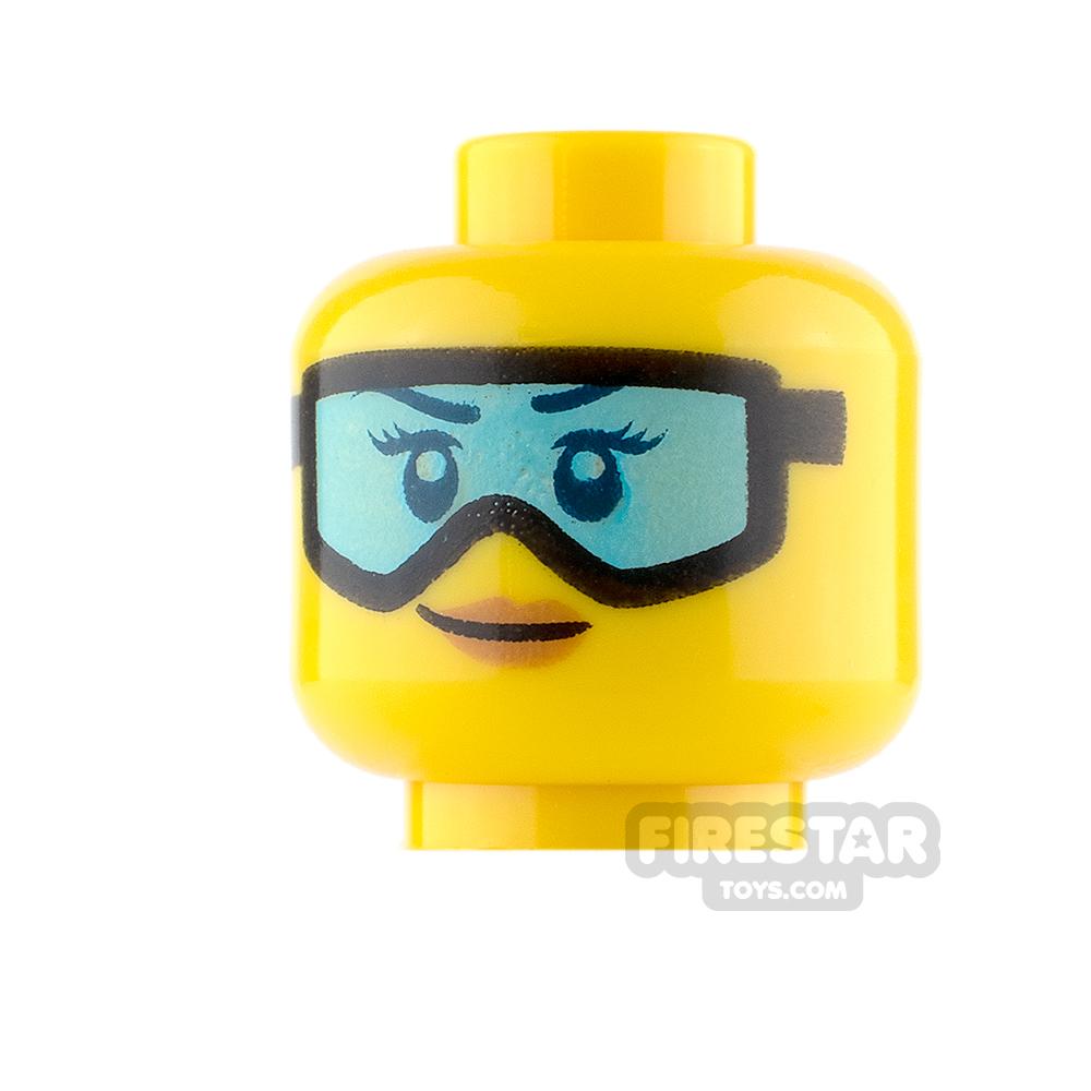 LEGO Mini Figure Heads - Blue Ski Goggles and Small Smile