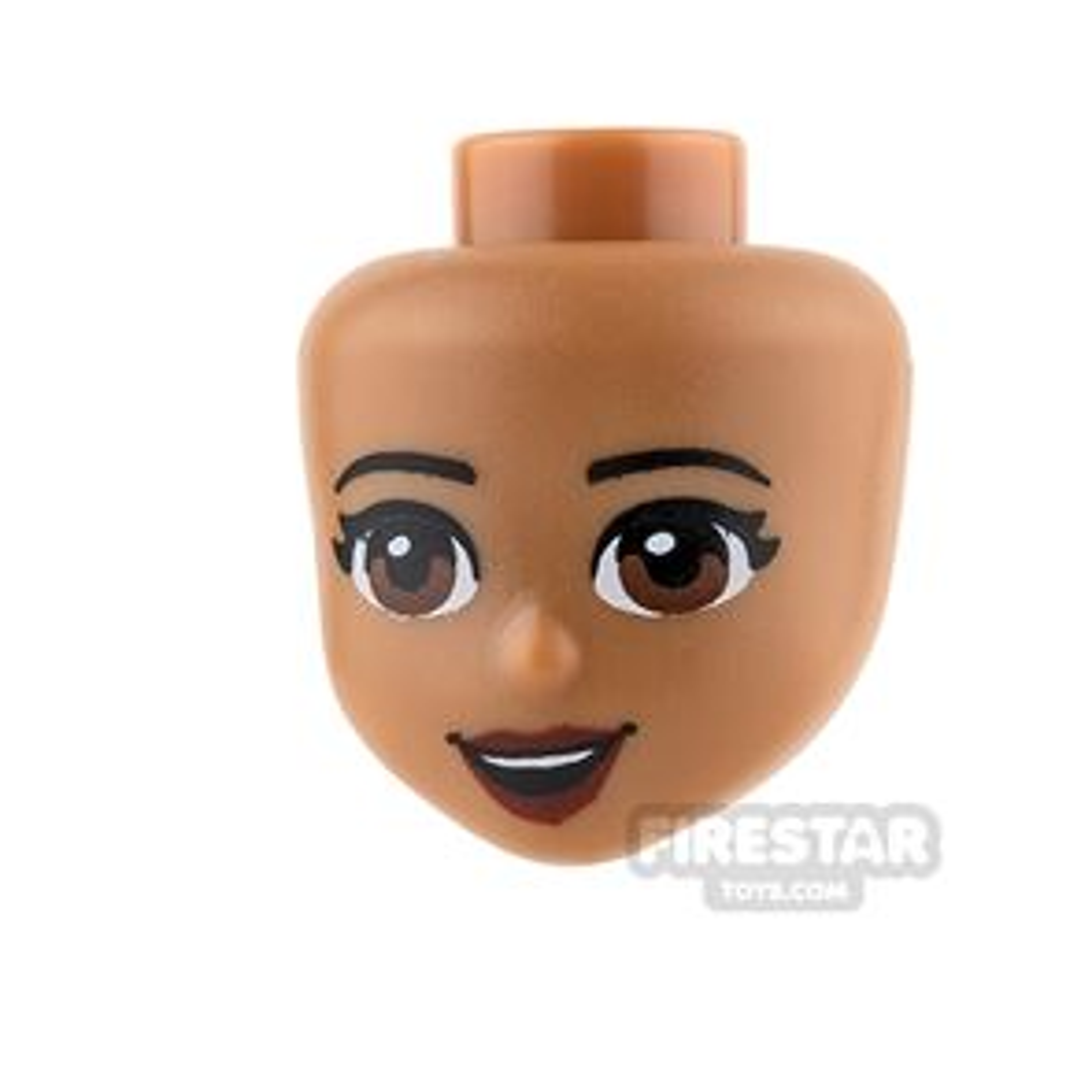 LEGO Friends Mini Figure Heads - Brown Eyes and Dark Red Lips