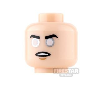 LEGO Mini Figure Heads - Neutral and Angry with Silver Eyes