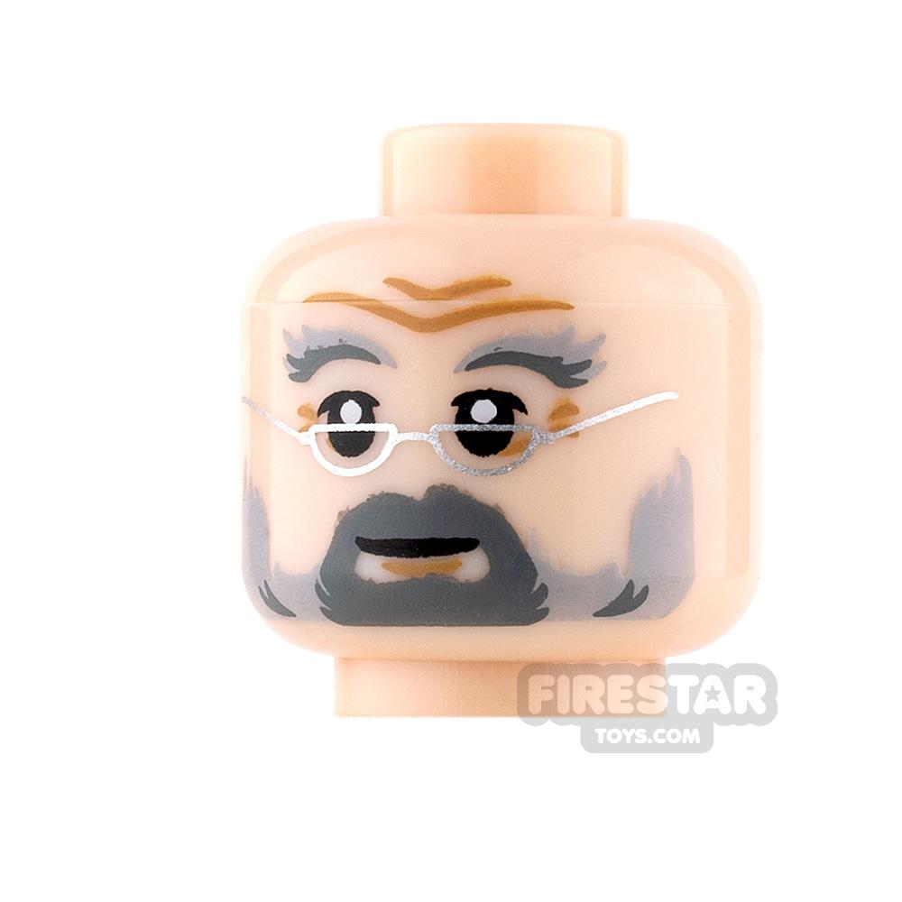 LEGO Mini Figure Heads - Gray Beard with Glasses