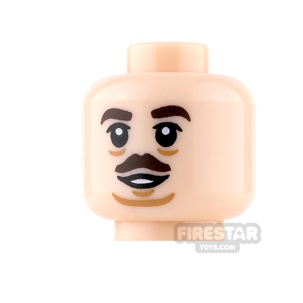 LEGO Mini Figure Heads - Dark Brown Moustache and Smile