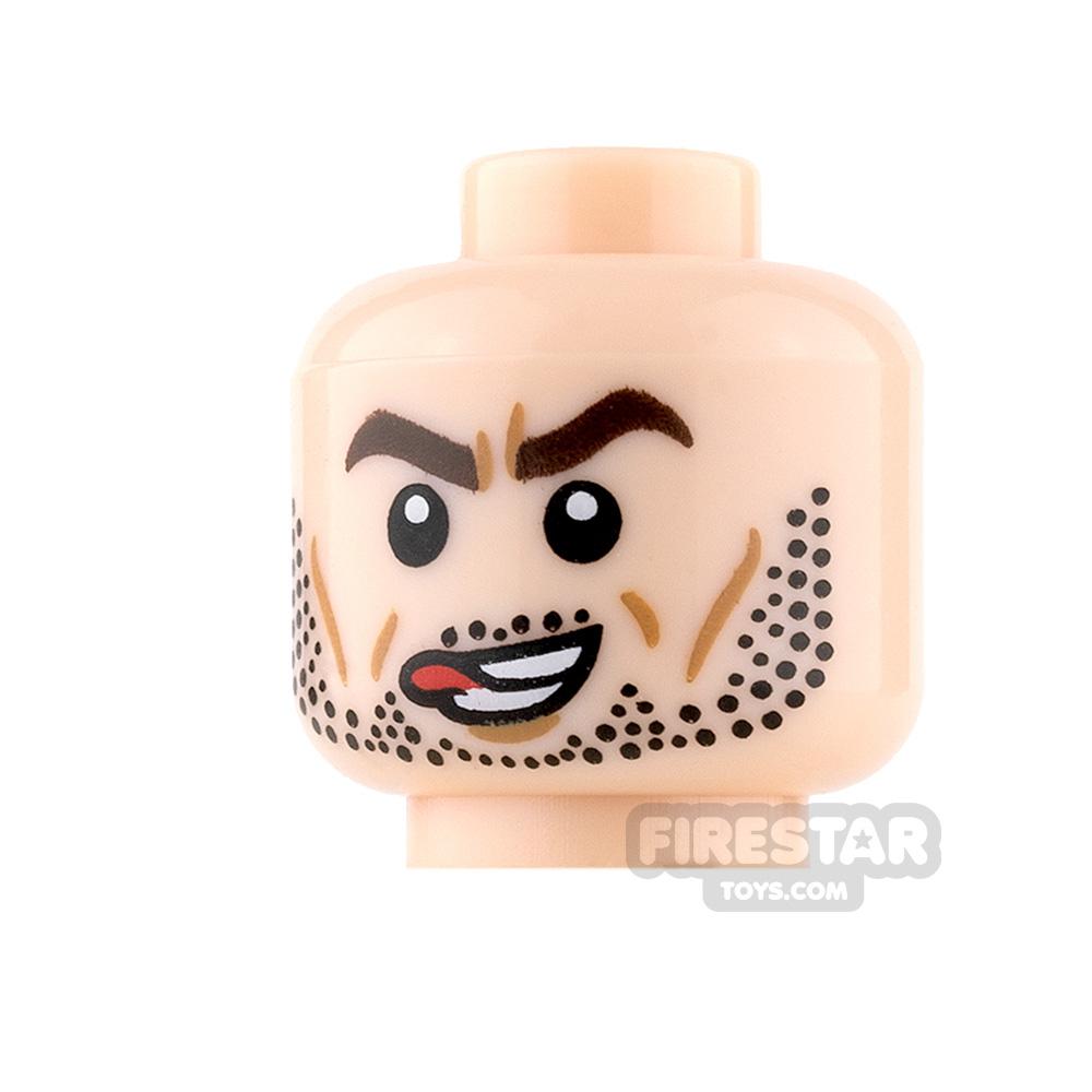 LEGO Mini Figure Heads - Mechanical Eye and Stubble