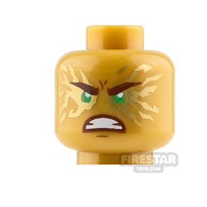 LEGO Mini Figure Heads - Gold Energy - Frown and Angry