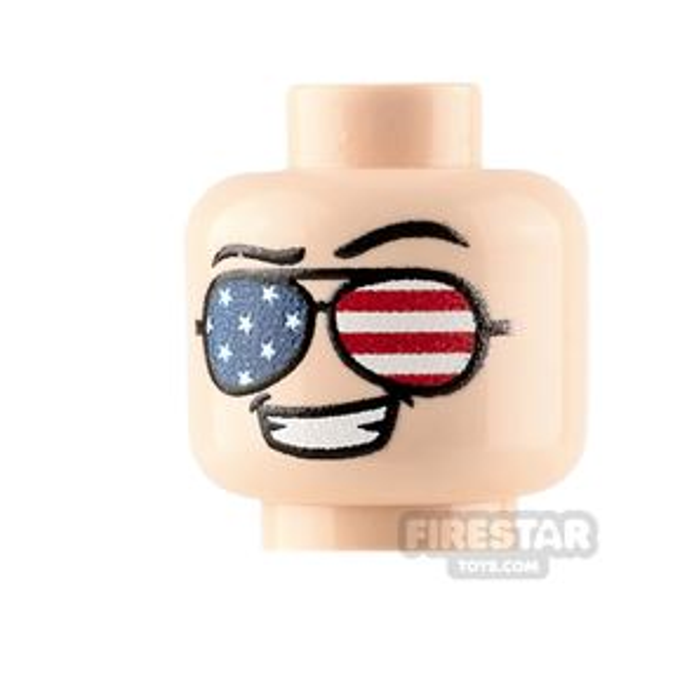 Custom Minifigure Heads American Flag Sunglasses Male