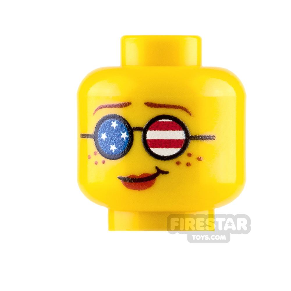 Custom Minifigure Heads American Flag Sunglasses Female