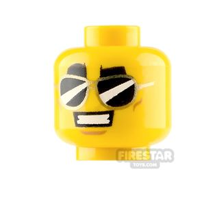 LEGO Minifigure Heads Black Sunglasses with Smile and Grin