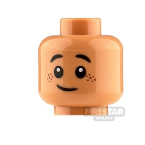 LEGO Minifigure Heads Brown Freckles Grin and Scared